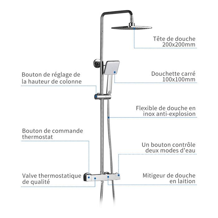 colonne de douche thermostatique hauteur r glable 845 1230mm socle laiton avec clapet anti. Black Bedroom Furniture Sets. Home Design Ideas