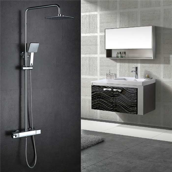 homelody colonne de douche thermostatique pommeau fixe et douchette carr s syst me baignoire en. Black Bedroom Furniture Sets. Home Design Ideas