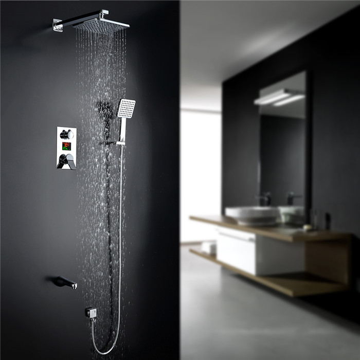 homelody colonne de douche encastrable ecran lcd kit de douche en laiton num rique douche pluie. Black Bedroom Furniture Sets. Home Design Ideas