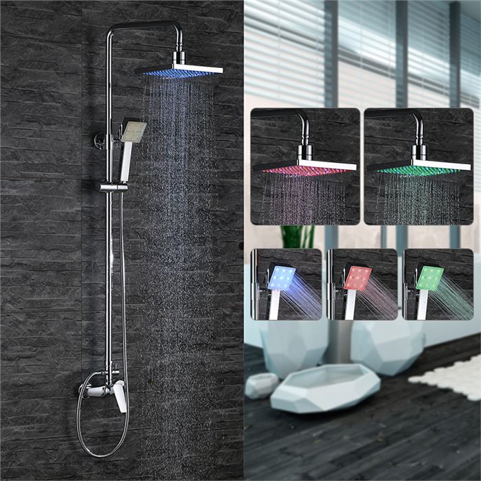 colonne de douche led carr tube rond pour salle de bain chrom durable achat vente colonne. Black Bedroom Furniture Sets. Home Design Ideas