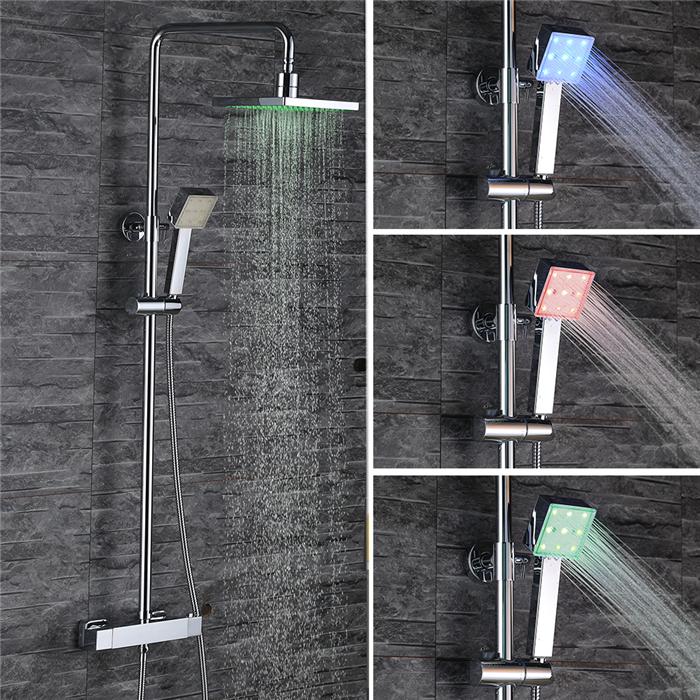 colonne de douche thermostatique led carr tube rond pour salle de bain achat vente colonne. Black Bedroom Furniture Sets. Home Design Ideas