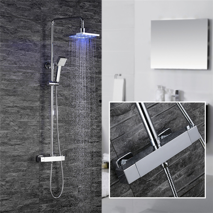 colonne de douche thermostatique led carr tube rond pour salle de bain achat vente colonne. Black Bedroom Furniture Sets. Home Design Ideas